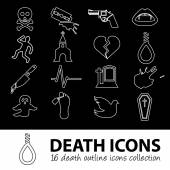 Death outline icons — Stock Vector