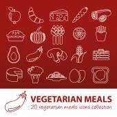 Vegetarian meals outline icons — Stock Vector