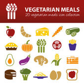 Vegetarian meals icons — Stock Vector