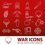 War outline icons — Stock vektor