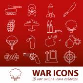War outline icons — Stok Vektör