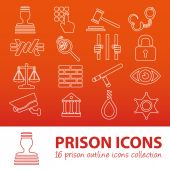 Prison outline icons — Stock Vector