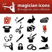 Magician icons — Stock Vector