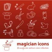 Magician outline icons — Stock Vector