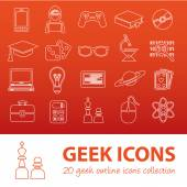 Geek outline icons — Stock Vector