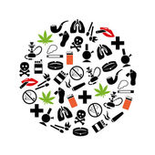 Smoking icons in circle — Stock Vector