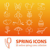 Spring outline icons — Stock Vector