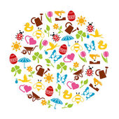 Spring icons in circle — Stock Vector