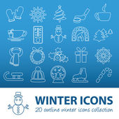 Winter outline icons — Stock Vector
