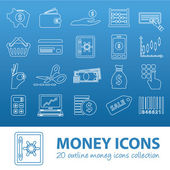 Money outline icons — Stock Vector