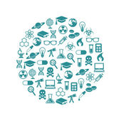 Science icons in circle — Stock Vector