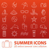 Summer outline icons — Stock Vector