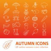 Autumn outline icons — Stock Vector