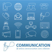 Communication outline icons — Stock Vector