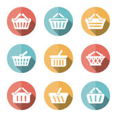E-shop basket flat icons — Stock Vector