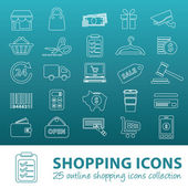 Shopping outline icons — Stock Vector