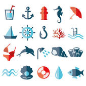 Water flat icons — Stock Vector