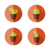 Cactus flat icons — Stock Vector
