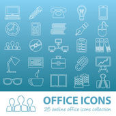 Office outline icons — Stock Vector