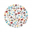 Family flat icons in circle — Stock Vector #63816551