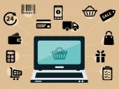 Computer and e-shop icons — Stock vektor