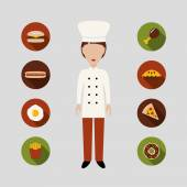 Chef and food icons — Stock Vector