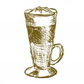 Doodle latte macchiato coffee — Stock Vector