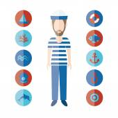 Sailor and icons — Stock Vector