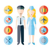 Pilot, stewardess and icons — Stock Vector