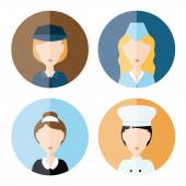 Women profession icons — Stock Vector