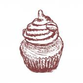 Doodle coffee cupcake — Stock Vector