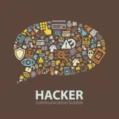 Hacker communication bubble — Stock Vector