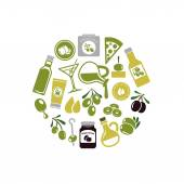 Olives icons in circle — Stock Vector