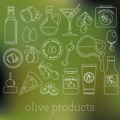 Olives outline icons — Stock Vector