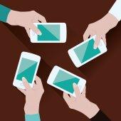 Hands with phones — Stock Vector