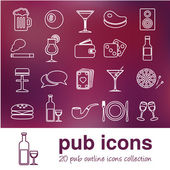 Pub outline icons — Stock Vector