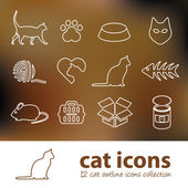 Cat outline icons — Stock Vector