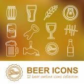 Beer outline icons — Stock Vector