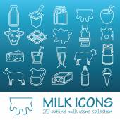 Outline milk icons — Stock Vector