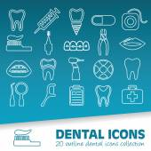 Dental outline icons — Stock Vector