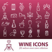 Wine outline icons — Stock Vector