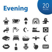 Evening icons — Stock Vector