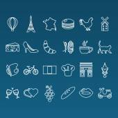 France outline icons — Stock Vector