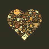 Chocolate icons in heart — Stock Vector