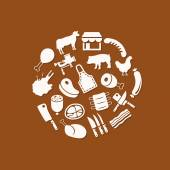 Butcher icons in circle — Stock Vector
