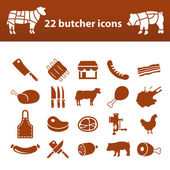 Butcher icons — Stock Vector
