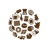 Chocolate icons in circle — Stock Vector