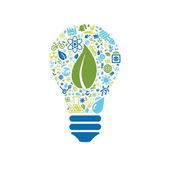 Ecology icons in light bulb — Stock Vector