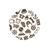 Vintage objects icons in circle — Stock Vector