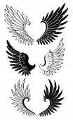 Set of Wings for Tattoo — 图库矢量图片